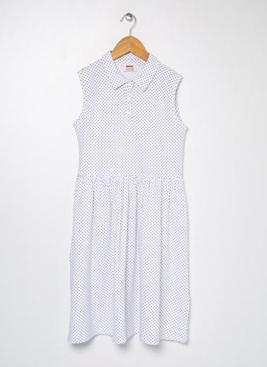 Koton Koton Puantiyeli Polo Yaka Beli Büzgülü Elbise Beyaz